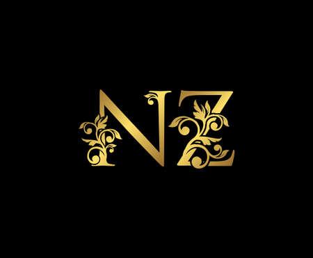 Golden NZ, N and Z Luxury Logo Icon, Vintage Gold  Initials Mark Design. Elegant luxury gold color on black background 矢量图像