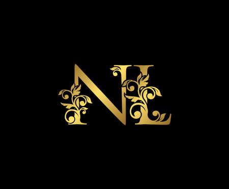Golden NL, N and L Luxury Logo Icon, Vintage Gold  Initials Mark Design. Elegant luxury gold color on black background