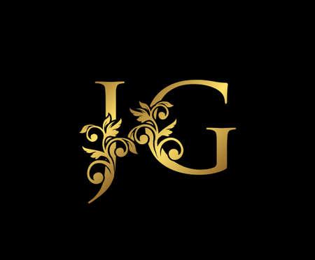 Golden JG, J and G Luxury Logo Icon, Vintage Gold  Initials Mark Design. Elegant luxury gold color on black background 矢量图像