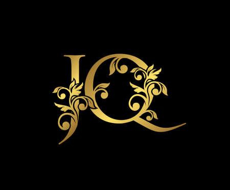 Golden JQ, J and Q Luxury Logo Icon, Vintage Gold  Initials Mark Design. Elegant luxury gold color on black background