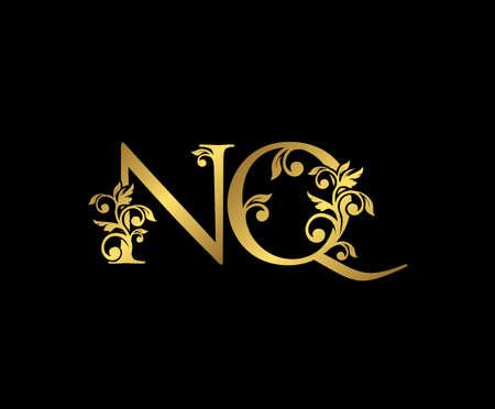Golden NQ, N and Q Luxury Logo Icon, Vintage Gold  Initials Mark Design. Elegant luxury gold color on black background
