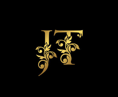 Golden JT, J and T Luxury Logo Icon, Vintage Gold  Initials Mark Design. Elegant luxury gold color on black background