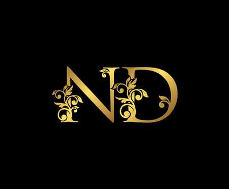 Golden ND, N and D Luxury Logo Icon, Vintage Gold  Initials Mark Design. Elegant luxury gold color on black background