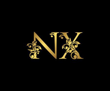 Golden NX, N and X Luxury Logo Icon, Vintage Gold  Initials Mark Design. Elegant luxury gold color on black background 矢量图像