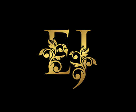 Golden EJ, J and E Luxury Logo Icon, Vintage Gold  Initials Mark Design. Elegant luxury gold color on black background 矢量图像