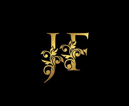 Golden JF, J and F Luxury Logo Icon, Vintage Gold  Initials Mark Design. Elegant luxury gold color on black background