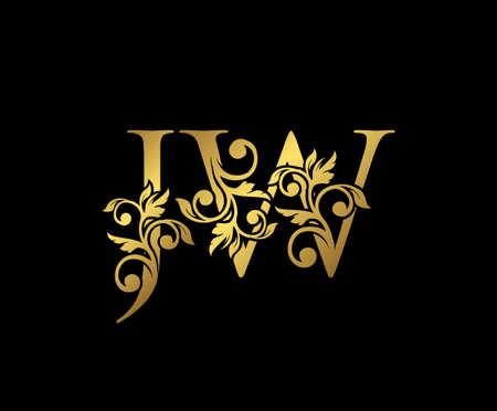 Golden JW, J and W Luxury Logo Icon, Vintage Gold  Initials Mark Design. Elegant luxury gold color on black background