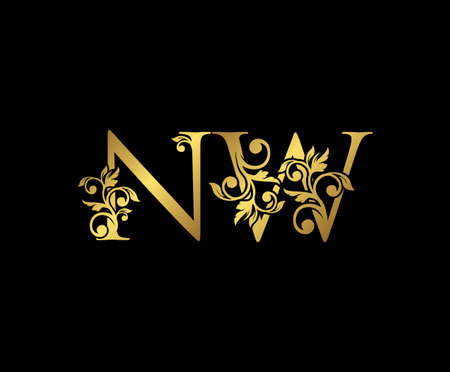 Golden NW, N and W Luxury Logo Icon, Vintage Gold  Initials Mark Design. Elegant luxury gold color on black background