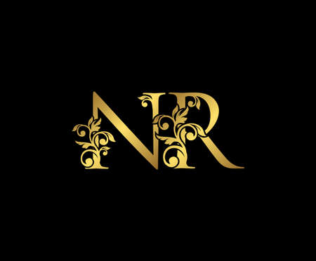 Golden NR, N and R Luxury Logo Icon, Vintage Gold Initials Mark Design. Elegant luxury gold color on black background