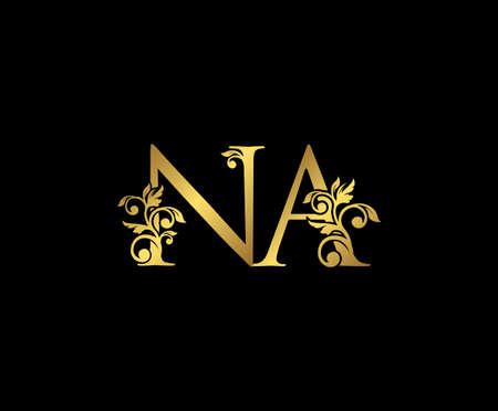 Golden NA, N and A Luxury Logo Icon, Vintage Gold  Initials Mark Design. Elegant luxury gold color on black background 矢量图像