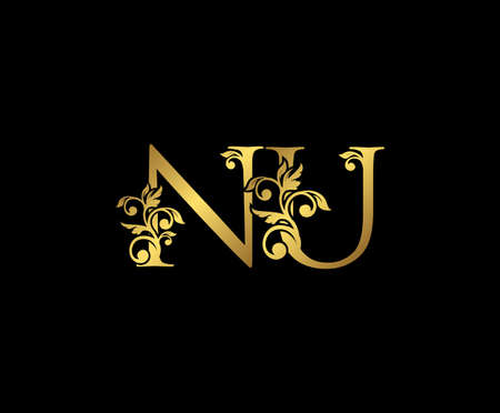 Golden NU, N and U Luxury Logo Icon, Vintage Gold  Initials Mark Design. Elegant luxury gold color on black background