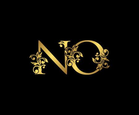 Golden NO, N and O Luxury Logo Icon, Vintage Gold  Initials Mark Design. Elegant luxury gold color on black background