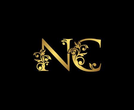 Golden NC, N and C Luxury Logo Icon, Vintage Gold  Initials Mark Design. Elegant luxury gold color on black background 矢量图像
