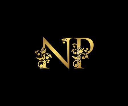 Golden NP, N and P Luxury Logo Icon, Vintage Gold  Initials Mark Design. Elegant luxury gold color on black background