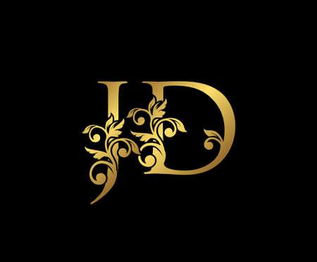 Golden JD, J and D Luxury Logo Icon, Vintage Gold  Initials Mark Design. Elegant luxury gold color on black background