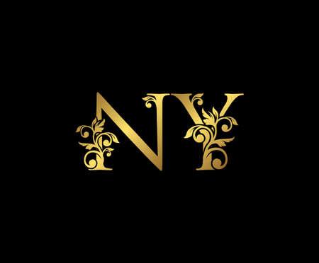 Golden NY, N and Y Luxury Logo Icon, Vintage Gold  Initials Mark Design. Elegant luxury gold color on black background