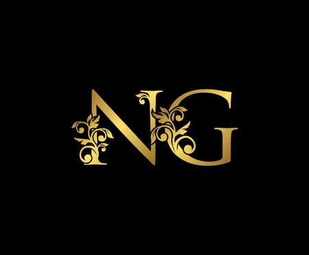 Golden NG, N and G Luxury Logo Icon, Vintage Gold  Initials Mark Design. Elegant luxury gold color on black background Ilustração