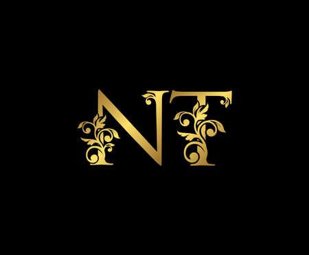 Golden NT, N and T Luxury Logo Icon, Vintage Gold  Initials Mark Design. Elegant luxury gold color on black background