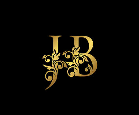 Golden JB, J and B Luxury Logo Icon, Vintage Gold  Initials Mark Design. Elegant luxury gold color on black background