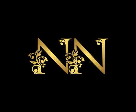 Golden NN, and N Luxury Logo Icon, Vintage Gold  Initials Mark Design. Elegant luxury gold color on black background