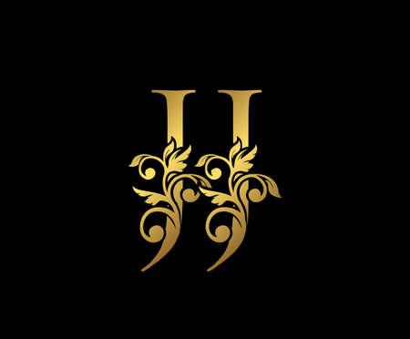 Golden JJ, and J Luxury Logo Icon, Vintage Gold  Initials Mark Design. Elegant luxury gold color on black background Ilustração