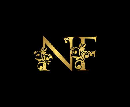 Golden NF, N and F Luxury Logo Icon, Vintage Gold  Initials Mark Design. Elegant luxury gold color on black background
