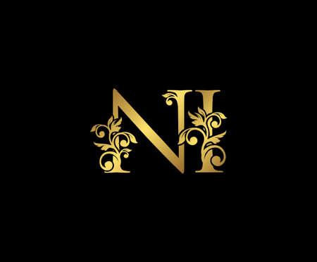 Golden NI, N and I Luxury Logo Icon, Vintage Gold  Initials Mark Design. Elegant luxury gold color on black background Ilustração