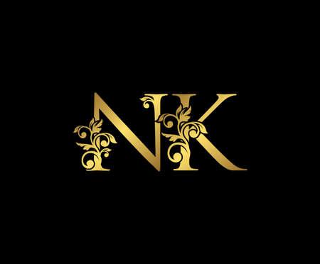 Golden NK, N and K Luxury Logo Icon, Vintage Gold  Initials Mark Design. Elegant luxury gold color on black background