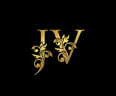 Golden JV, J and V Luxury Logo Icon, Vintage Gold  Initials Mark Design. Elegant luxury gold color on black background