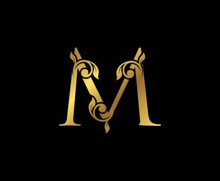 M Letter Floral Gold logo. Classy drawn emblem for book design, weeding card, brand name, business card, Restaurant, Boutique, Hotel.