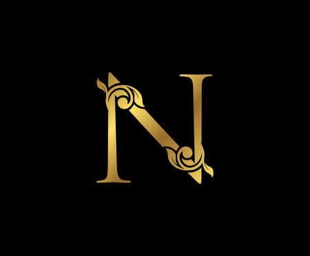 N Letter Floral Gold logo. Classy drawn emblem for book design, weeding card, brand name, business card, Restaurant, Boutique, Hotel.