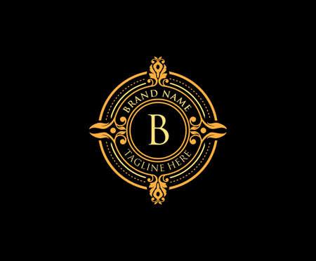Golden elegant emblem with letter B. Vintage decorative ornament emblem badge.