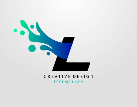 Letter L Water Splash Logo. Modern Techno Alphabet Splatter Icon, Template Design.