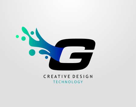 Letter G Water Splash Logo. Modern Techno Alphabet Splatter Icon, Template Design.