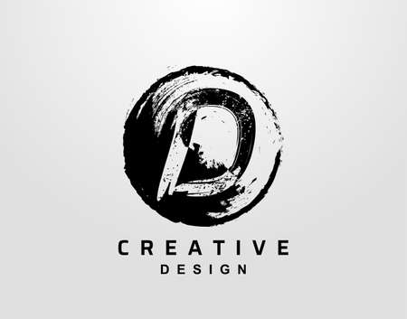 D Letter Logo With Circle Grunge Element. Retro Circle Splatter logo design template.