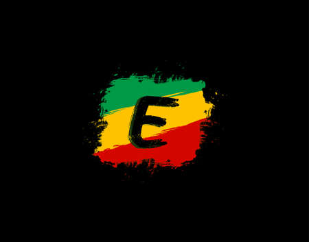 E Letter Logo In Square Grunge Shape With Splatter and Rasta Color. Letter F Reggae Style Icon Design.