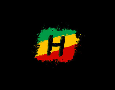 H Letter Logo In Square Grunge Shape With Splatter and Rasta Color. Letter B Reggae Style Icon Design.