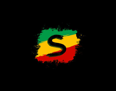 S Letter Logo In Square Grunge Shape With Splatter and Rasta Color. Letter W Reggae Style Icon Design.