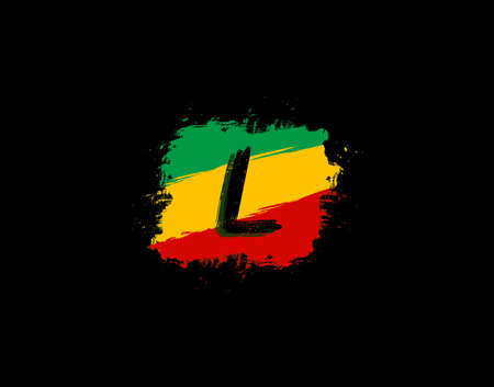 L Letter Logo In Square Grunge Shape With Splatter and Rasta Color. Letter L Reggae Style Icon Design. Ilustrace