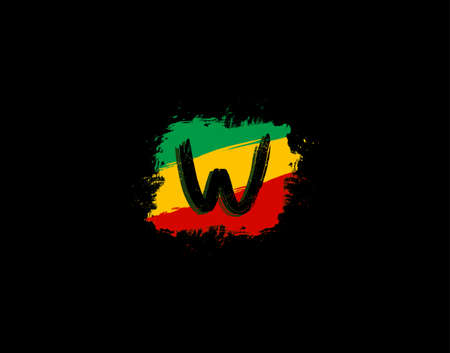 W Letter Logo In Square Grunge Shape With Splatter and Rasta Color. Letter W Reggae Style Icon Design.