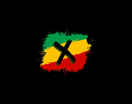 X Letter Logo In Square Grunge Shape With Splatter and Rasta Color. Letter W Reggae Style Icon Design.