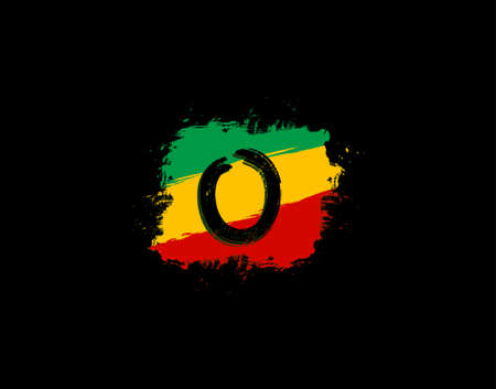 O Letter Logo In Square Grunge Shape With Splatter and Rasta Color. Letter W Reggae Style Icon Design.