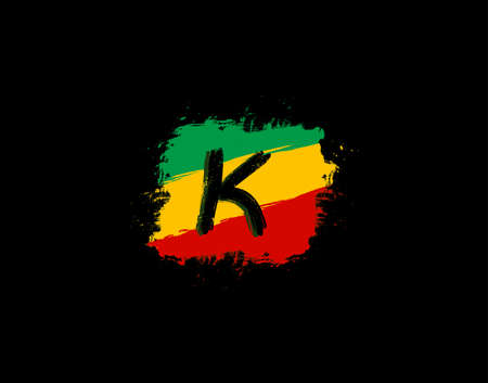 K Letter Logo In Square Grunge Shape With Splatter and Rasta Color. Letter W Reggae Style Icon Design.