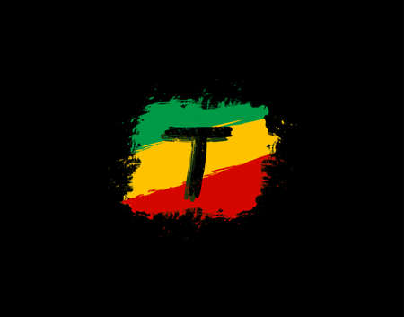 T Letter Logo In Square Grunge Shape With Splatter and Rasta Color. Letter W Reggae Style Icon Design.