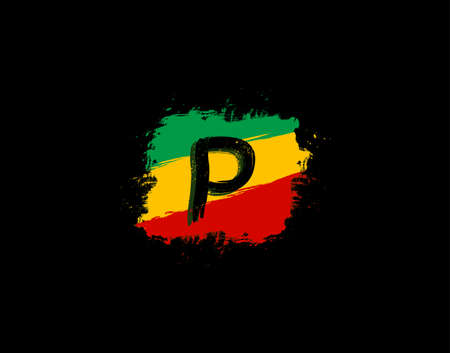 P Letter Logo In Square Grunge Shape With Splatter and Rasta Color. Letter W Reggae Style Icon Design.