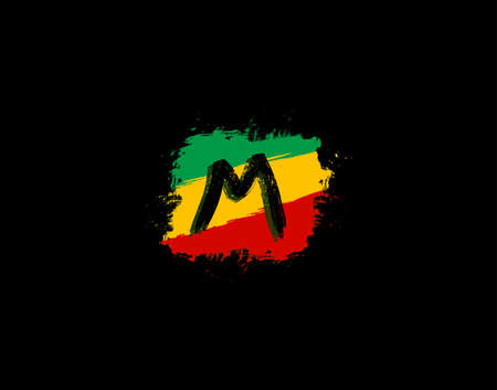 M Letter Logo In Square Grunge Shape With Splatter and Rasta Color. Letter W Reggae Style Icon Design.