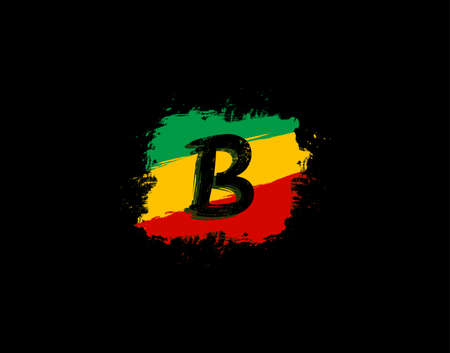 B Letter Logo In Square Grunge Shape With Splatter and Rasta Color. Letter B Reggae Style Icon Design.