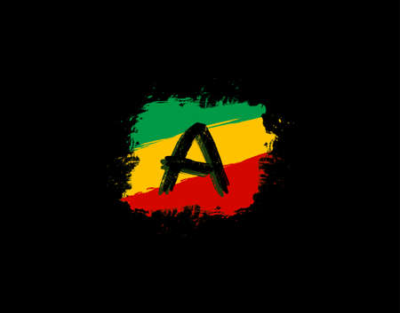 A Letter Logo In Square Grunge Shape With Splatter and Rasta Color. Letter W Reggae Style Icon Design.