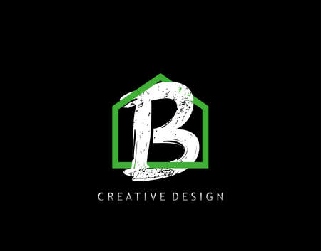 House B Letter Logo. Green House Shape Interlock With Grungy Letter B Design, Real Estate Architecture Construction Icon Design.