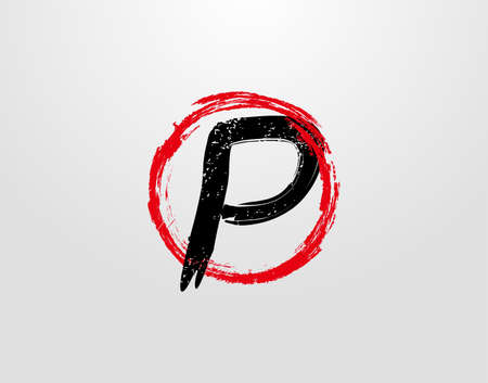 P Letter Logo With Red Circle Grunge Splatter Element. Retro P logo design template.